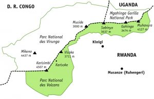 mgahinga gorilla national park map